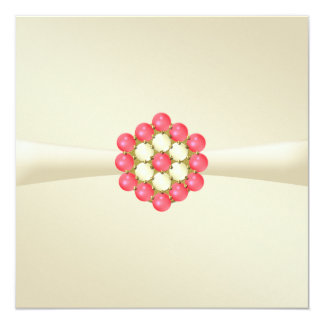 Marfil de la invitación del boda con las perlas y