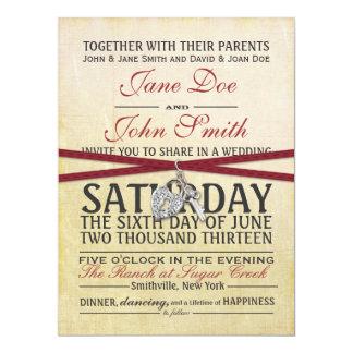Marfil del vintage e invitación roja del boda de