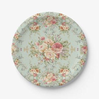 Marfil floral lamentable del rosa de rosas del platos de papel