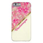 Marfil, oro y flores rosados (personalizados) funda de iPhone 6 barely there