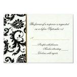 Marfil, oro, y tarjeta de contestación negra del invitación 8,9 x 12,7 cm
