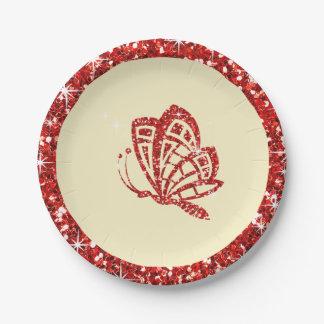 Marfil roja de la mariposa el   del BRILLO Platos De Papel