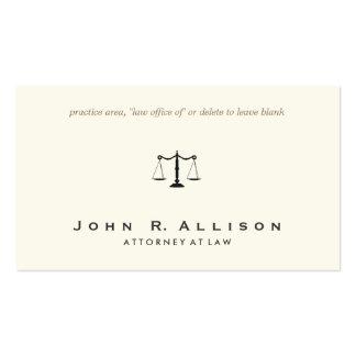 Marfil simple y sofisticada del abogado tarjetas de visita
