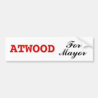 Margaret Atwood para el alcalde pegatina para el p Pegatina De Parachoque