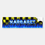 Margaret blue fire and flames bumper sticker desig