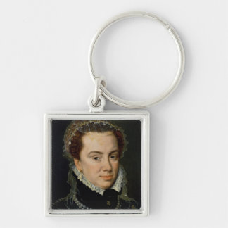 Margaret of Parma , Regent of the Netherlands Silver-Colored Square Keychain