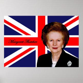 Margaret Thatcher - bandera británica Póster