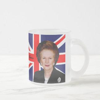 Margaret Thatcher - bandera británica Taza De Café Esmerilada
