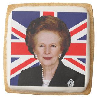 Margaret Thatcher & British Flag Square Premium Shortbread Cookie