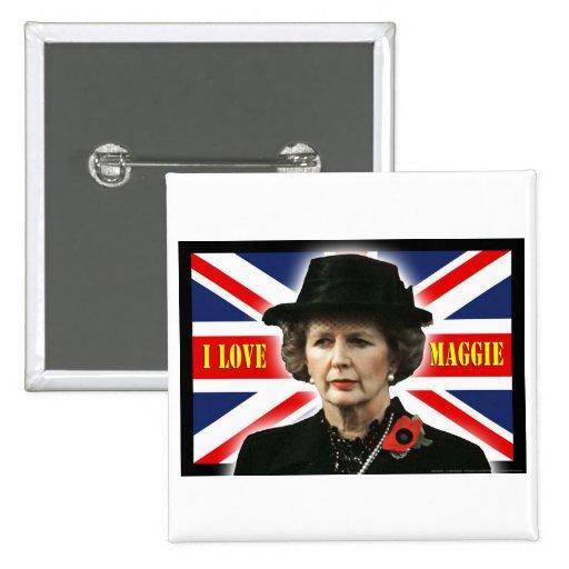 Margaret Thatcher I Love Maggie 2 Inch Square Button
