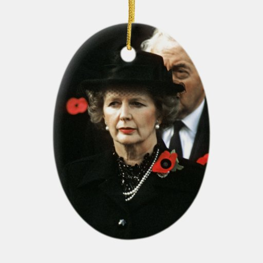 Margaret Thatcher I Love Maggie Double-Sided Oval Ceramic Christmas Ornament