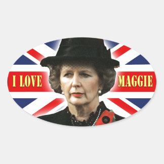 Margaret Thatcher I Love Maggie Oval Sticker