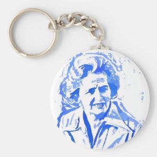 Margaret Thatcher Pop Art Portrait Basic Round Button Keychain