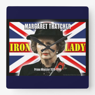 Margaret Thatcher Prime Minister Square Wall Clock