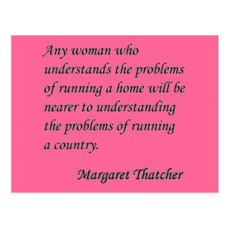 "Margaret Thatcher ""Running a country"" Quote Button Postcard"