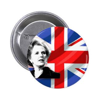 Margaret Thatcher Union Jack Pin Redondo 5 Cm