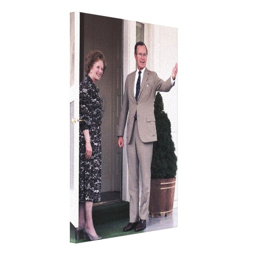 Margaret Thatcher y George Bush Impresion En Lona