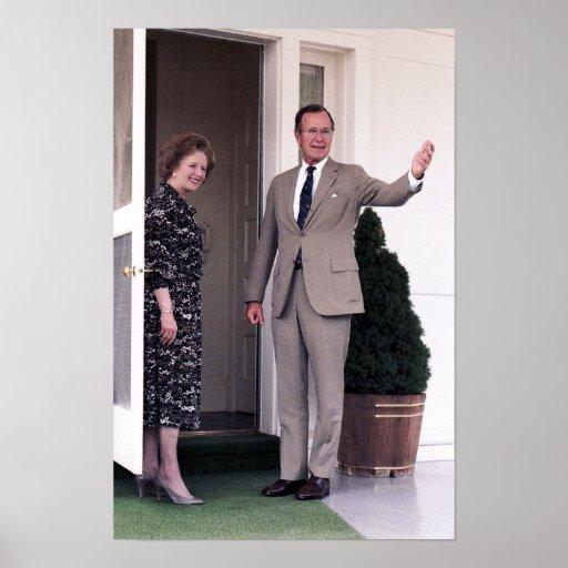 Margaret Thatcher y George Bush Impresiones