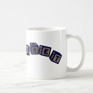 Margaret toy blocks in blue coffee mug