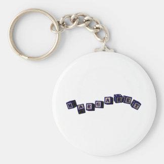 Margaret toy blocks in blue basic round button keychain