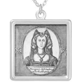 Margaret Tudor with two of her husbands Silver Plated Necklace