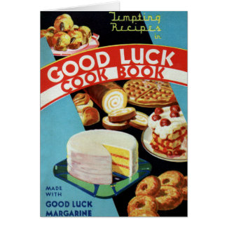 Margarina retra del libro del cocinero de la buena tarjeta de felicitación
