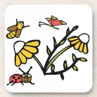 Margarita, abeja, mariposa y mariquita posavasos de bebidas