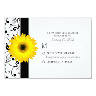 Margarita amarilla del Gerbera con el diseño negro Invitación 8,9 X 12,7 Cm