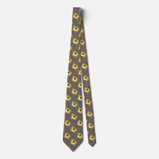 Margarita amarilla en la impresión de cuero gris corbatas personalizadas