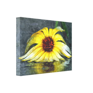 Margarita amarilla en la lluvia impresión en lienzo estirada