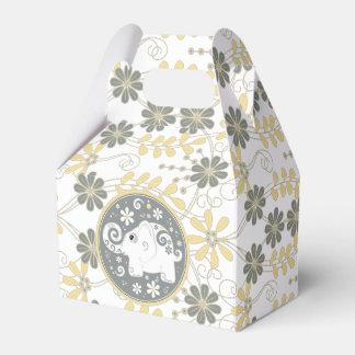 Margarita amarilla gris blanca del elefante floral caja para regalos de fiestas