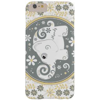 Margarita amarilla gris del elefante blanco floral funda de iPhone 6 plus barely there