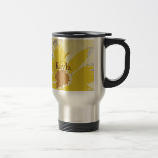 Margarita amarilla retra con monograma taza de viaje