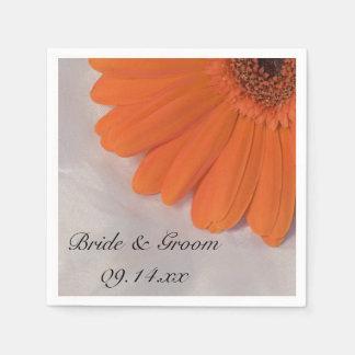 Margarita anaranjada y boda blanco del satén servilleta de papel