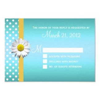 """Margarita azul y amarilla que casa la tarjeta de invitación 3.5"""" x 5"""""""