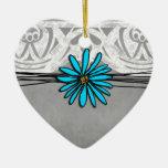 Margarita azul y gris del vintage caprichoso ornamentos de navidad