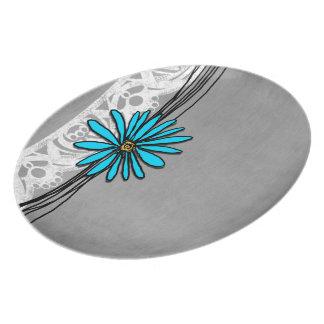 Margarita azul y gris del vintage caprichoso platos