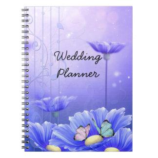 Margarita azul y mariposas que casan al planificad spiral notebook