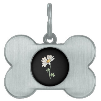 Margarita blanca bonita en negro placa de mascota