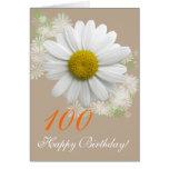 margarita blanca del cumpleaños de la edad 100th/A Tarjeton