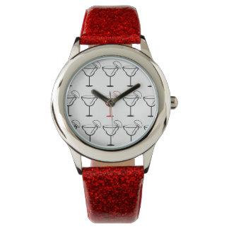 Margarita blanca, negra y roja de la diversión reloj