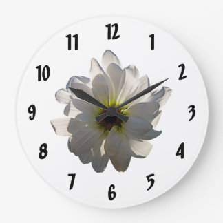 Margarita blanca retroiluminada reloj redondo grande