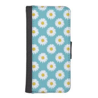 Margarita blanca simple en modelo azul funda tipo billetera para iPhone 5