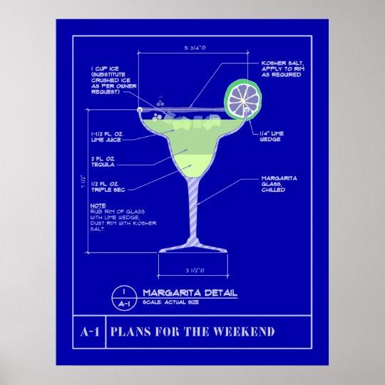 Margarita Blue Print Poster