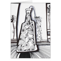 drawing,abstract,minimalism,drinks,original,nature,beverage,cocktail,black and white,bar,ink,black,white,spirit,cordial,glass,leaves,wine,beverages,artsprojekt,illustration,bottle,art, Card with custom graphic design