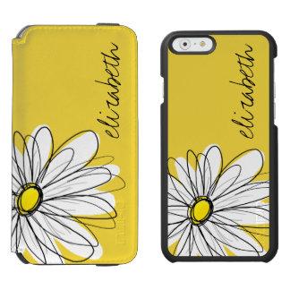 Margarita caprichosa amarilla y blanca con el funda billetera para iPhone 6 watson