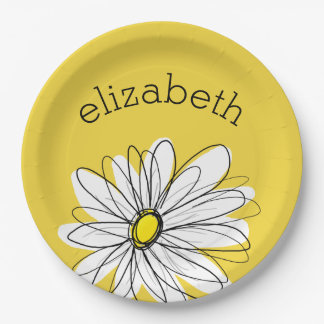 Margarita caprichosa amarilla y blanca con el plato de papel de 9 pulgadas