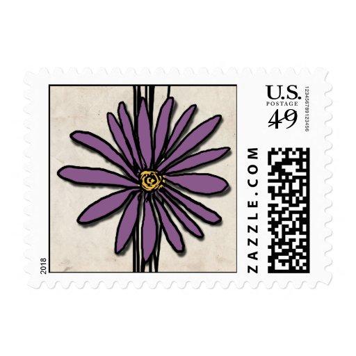 Margarita caprichosa de la púrpura del vintage sello postal