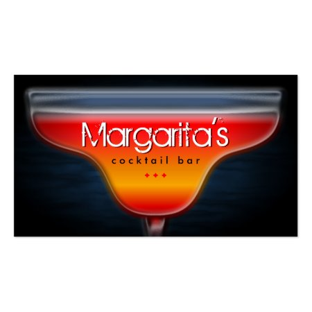 Vibrant Red and Yellow Margarita Glass Bartender or Cocktail Lounge Bar Business Cards Template