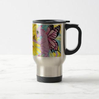 Margarita de hadas del amigo de la abeja del taza de viaje de acero inoxidable